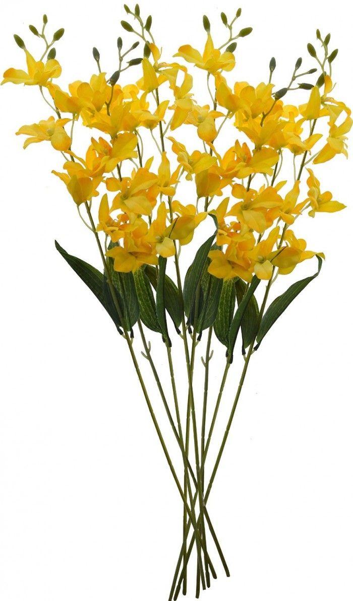 Artificial Fuscia Orchid Stemspeach Artificial Flower Bunches