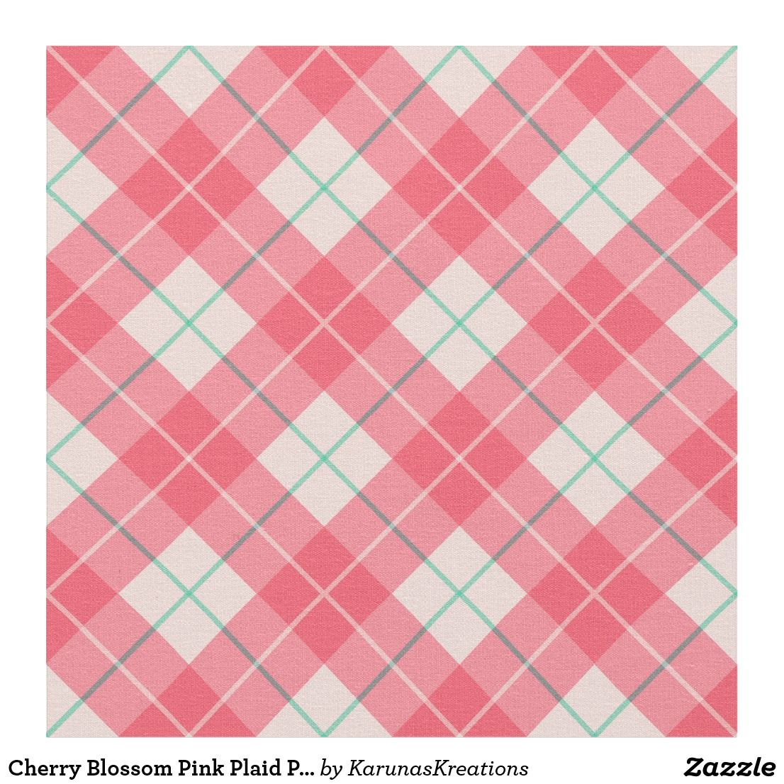 Cherry Blossom Pink Plaid Pattern Fabric (With images