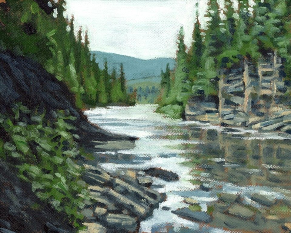 Dartmouth river painting by david kelavey canadian