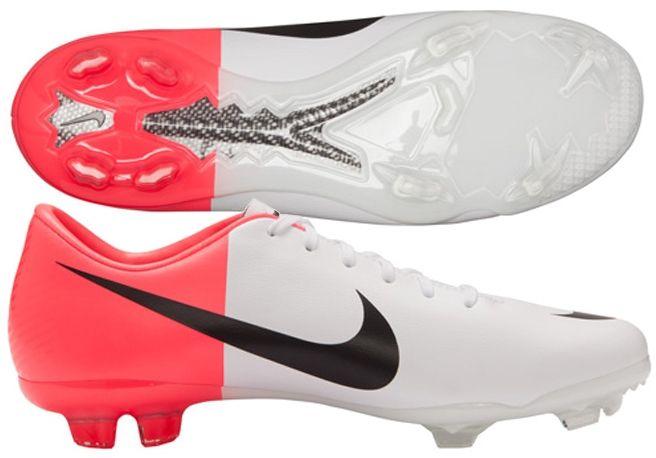 948a6ea7b Nike Mercurial Vapor VIII FG Youth Soccer Cleats (White Solar Red Black)