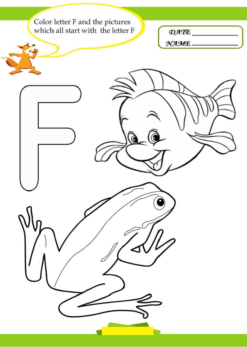 Letter F Worksheet For Preschool And Kindergarten   Activity Shelter ...