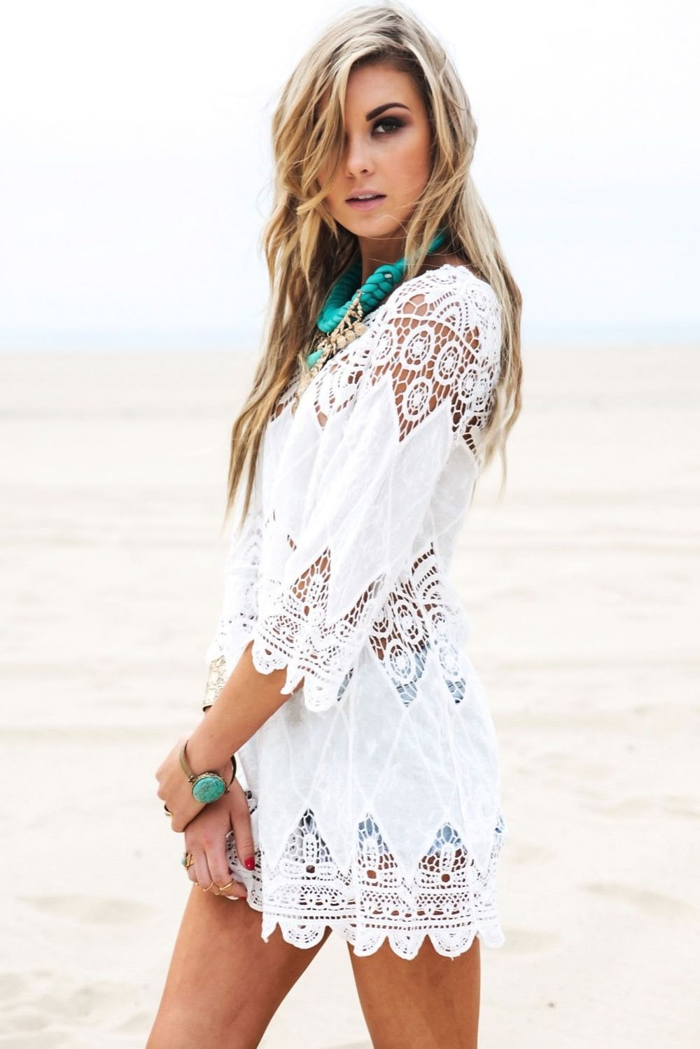 e32854c978 Brand DEARLOVER Summer Fashion Romantic Crochet White Beach Tunic Cover up