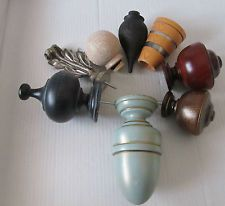 28mm 35mm 45mm 55mm Wooden Curtain Pole Finials Various Colours