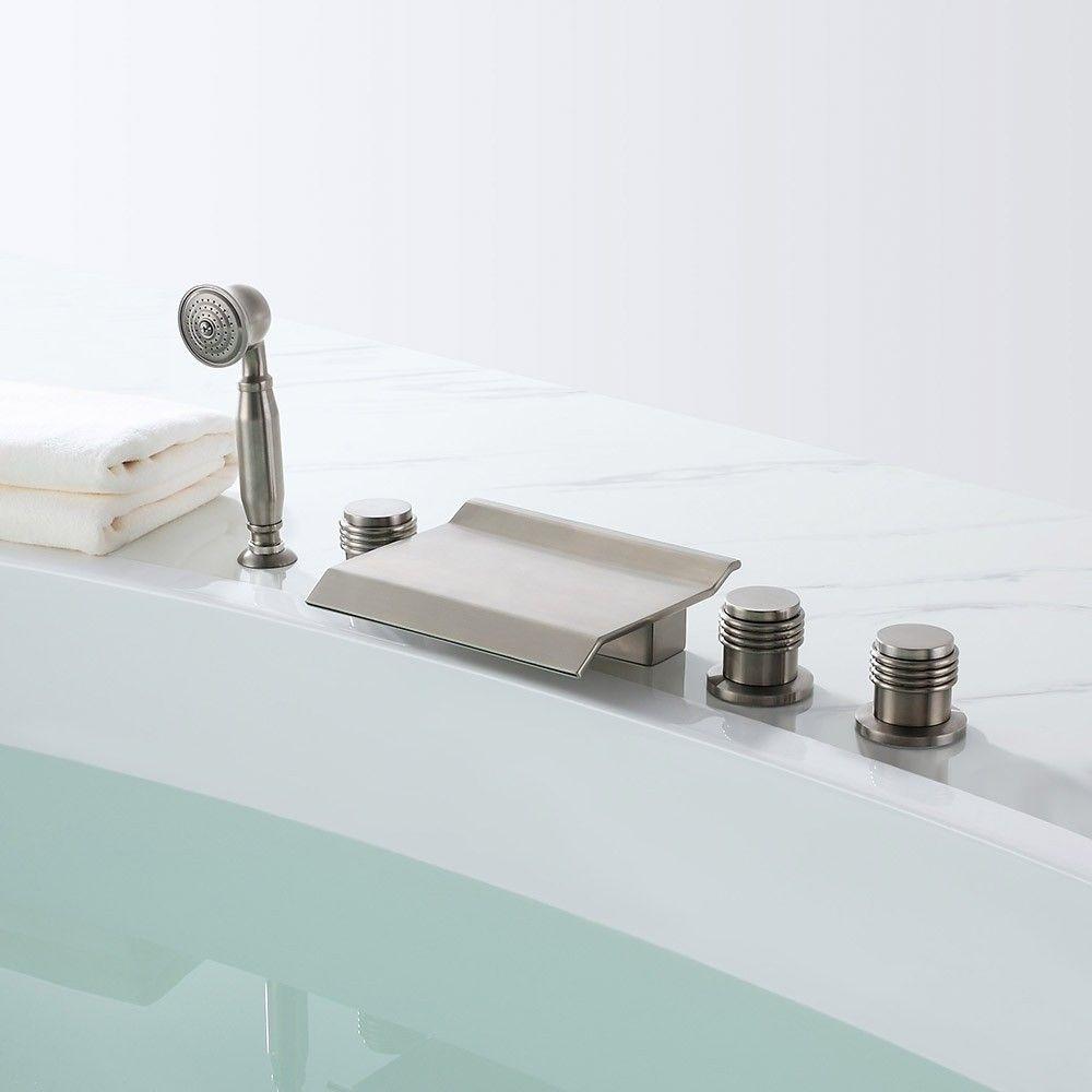 Moda Waterfall 5 Hole Deck Mounted Roman Tub Faucet Hand Shower
