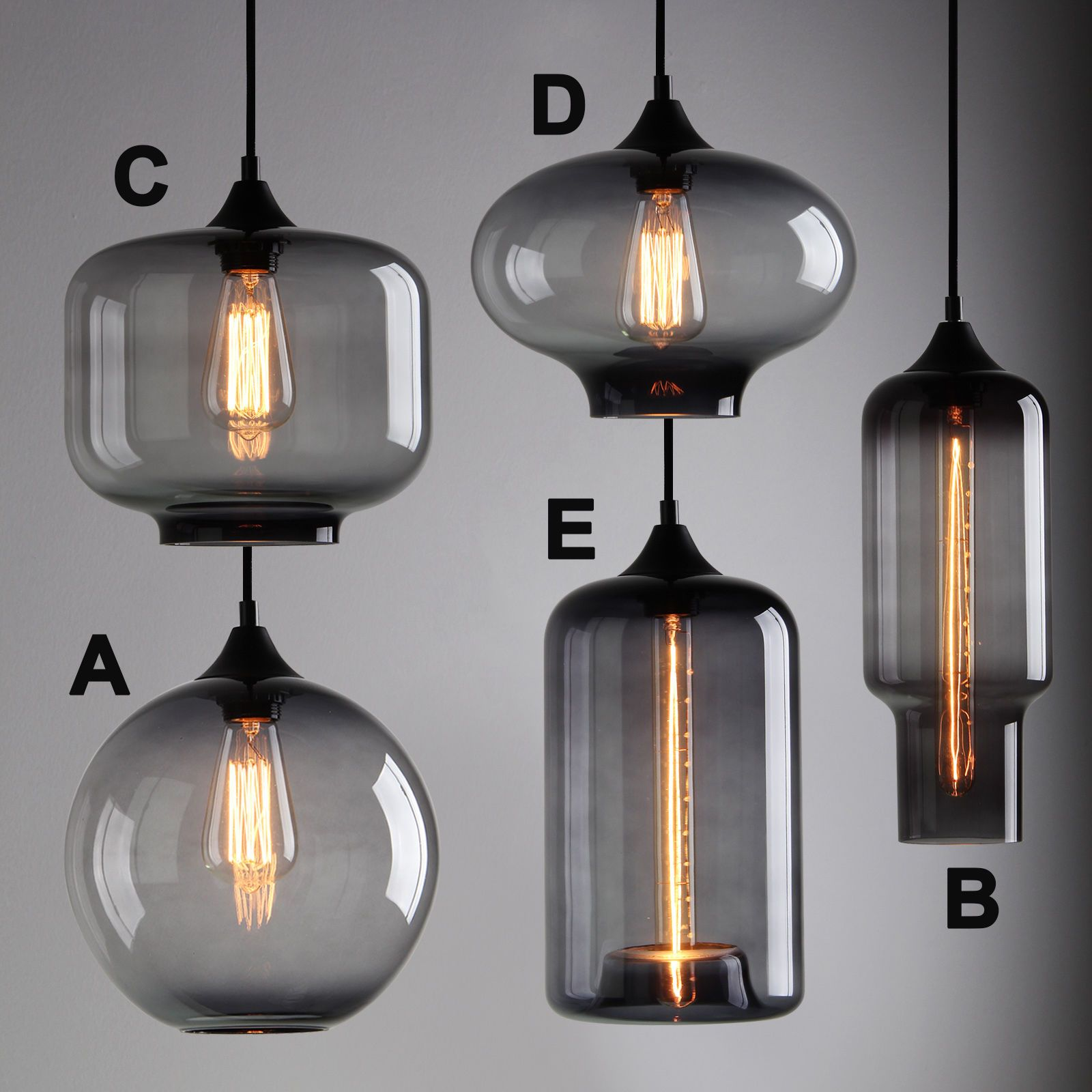 MODERN INDUSTRIAL SMOKY GREY GLASS SHADE LOFT CAFE PENDANT LIGHT CEILING LAMP