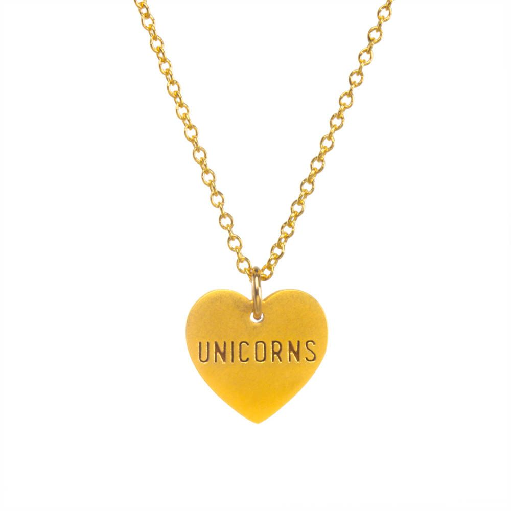 """""""unicorns"""" engraved heart necklace, gold dipped""""unicorns"""" engraved heart necklace, gold dipped"""