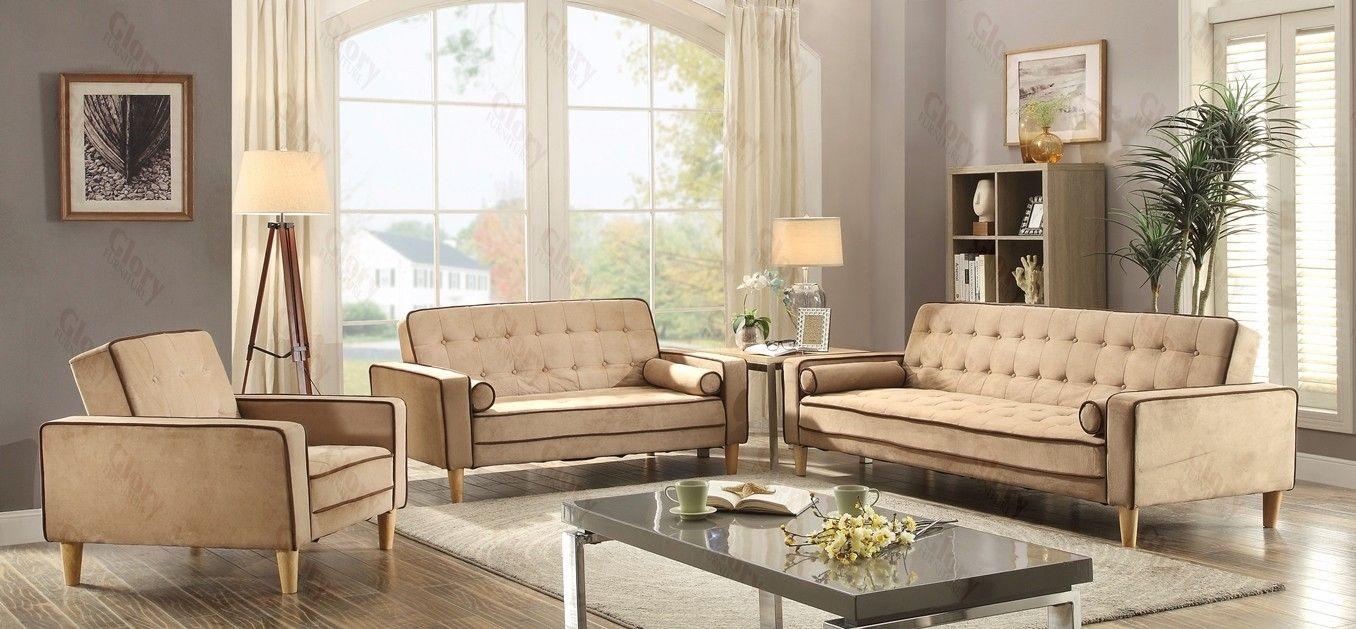 G842 Living Room Set Beige Sofa Loveseat