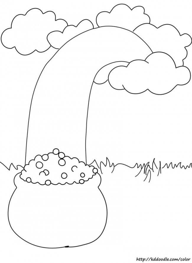 Free Printable Coloring Page Rainbow With Pot Of Gold Free