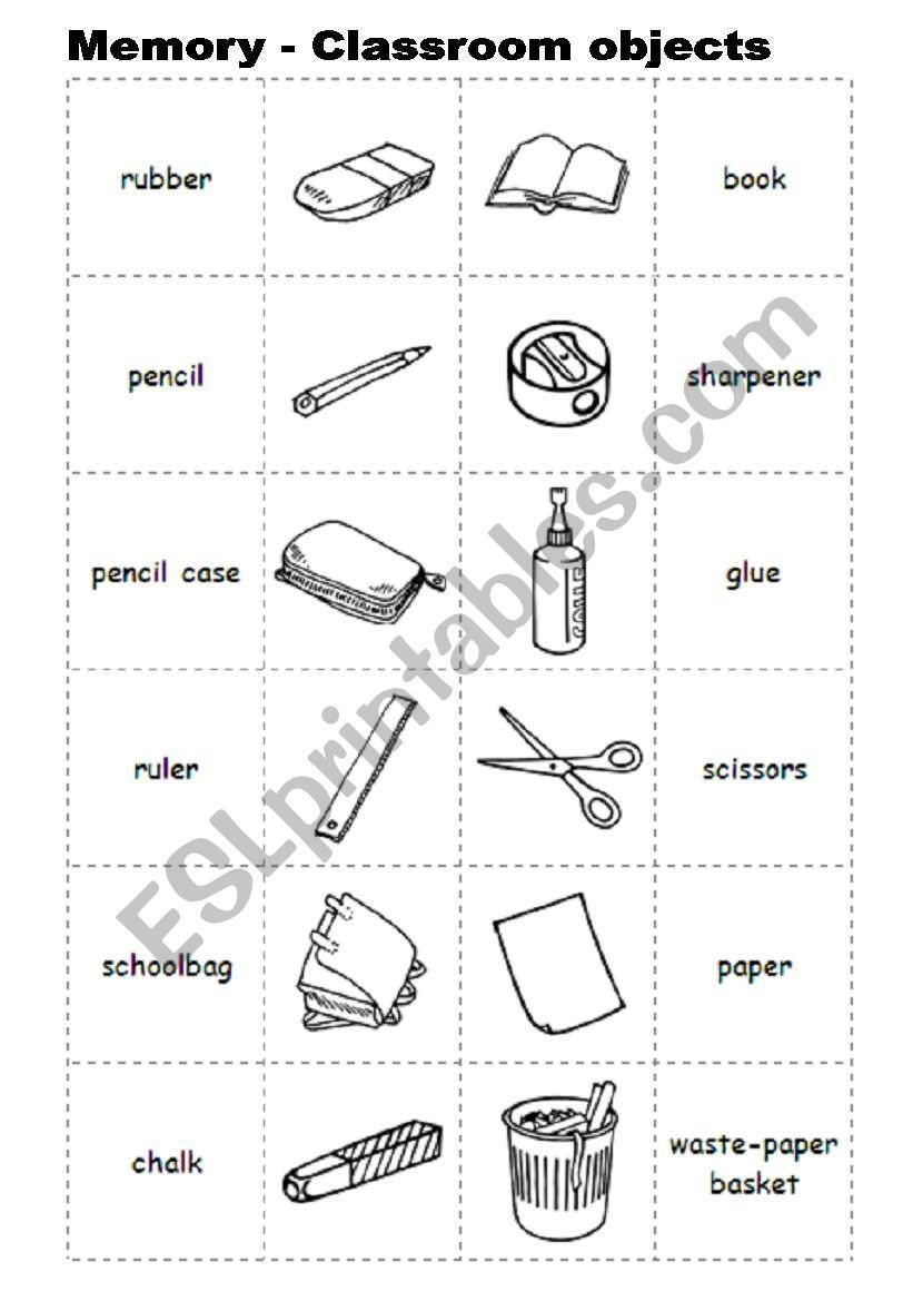 Memory With Classroom Objects Printable Preschool Worksheets Classroom English Lessons For Kids [ 1169 x 821 Pixel ]