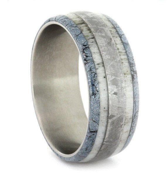 Meteorite Wedding Band, Deer Antler Ring With Titanium Sleeve, Mokume Gane Ring