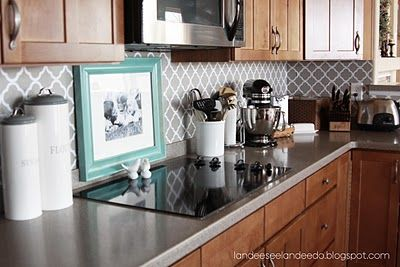 Good 16 Creative Stencil Projects. Vinyl BacksplashBacksplash IdeasCheap Kitchen  ... Great Pictures