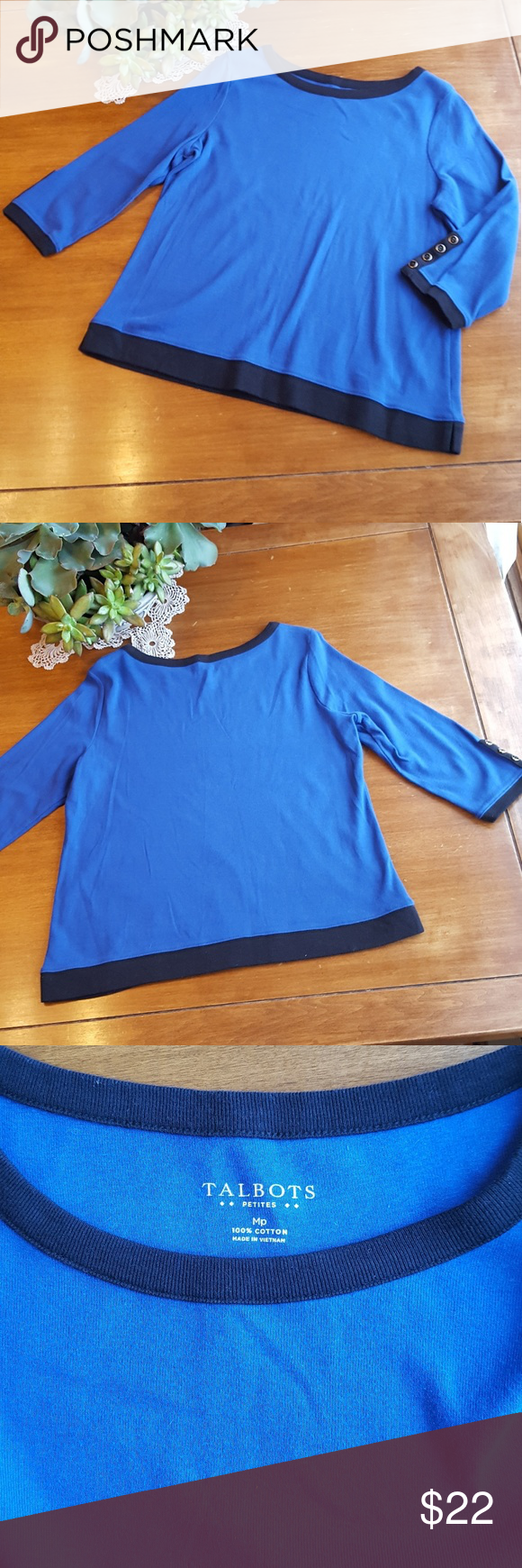Talbots deep royal blue w/ black trim sweater