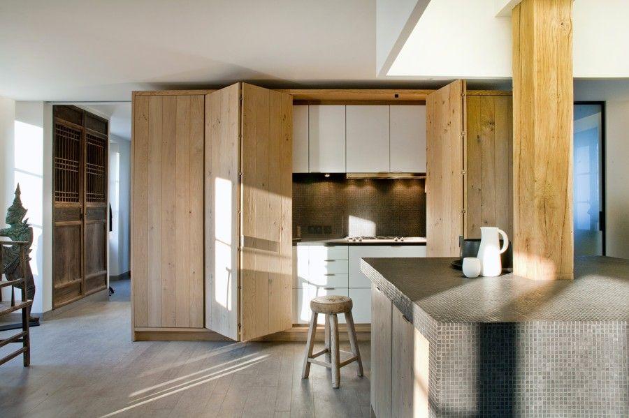 Cocina oculta madera de haya Kitchen / Küchen Pinterest