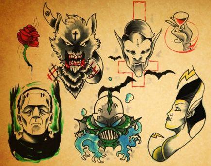 Horror Movie Tattoo Flash Horror Wall Fla...