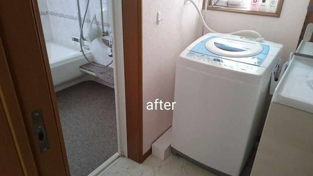 ニトリの意外なアイテムで洗濯機の排水ホースを目隠し 超カンタンなカバー方法 洗濯機の排水ホース ニトリ 洗面所 収納棚 Diy