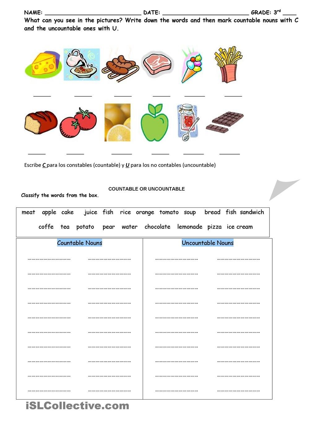 countable and uncountable activity   Nouns worksheet [ 1440 x 1018 Pixel ]