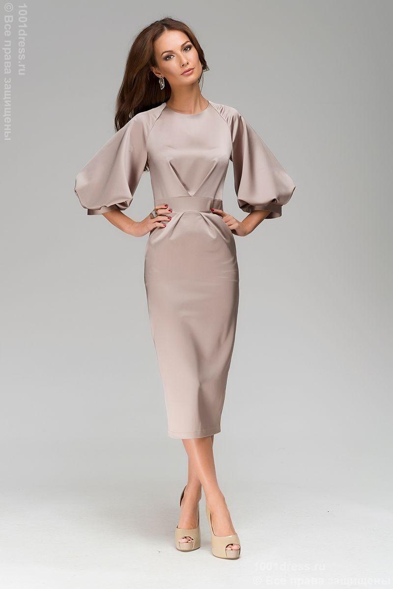 e0a0254a266 Платье длины миди кремового цвета с пышным рукавом