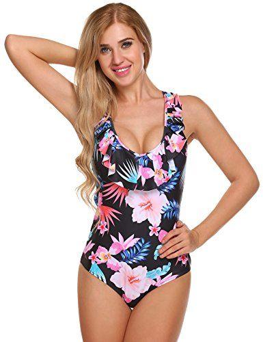 37503b32b30 Ekouaer Womens Sexy Ruffle Criss Cross Back One Piece Swimsuit Monokini  Swimwear