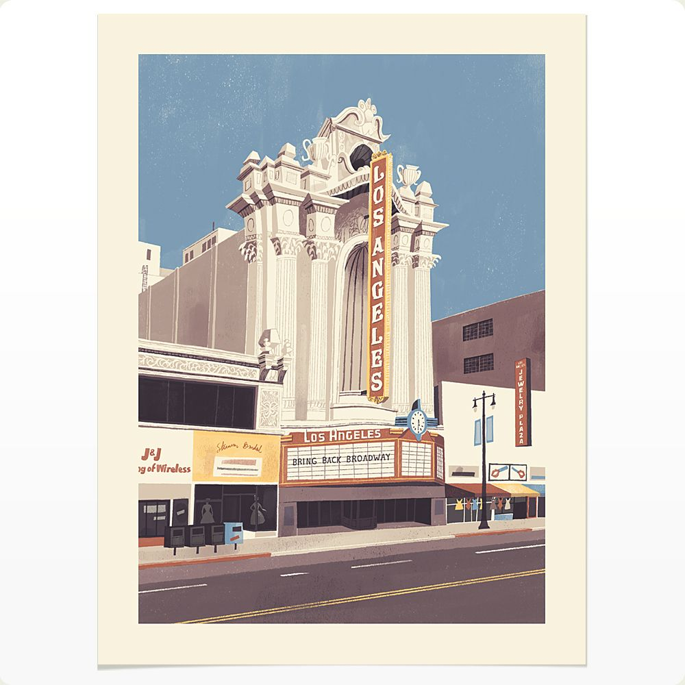 Chris Turnham S Print Shop Los Angeles Theater Theatre Illustration Los Angeles Shopping Building Illustration