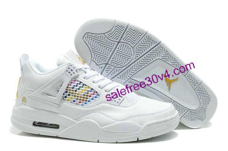Air Jordan Retro 4 Shoes Men White Gold