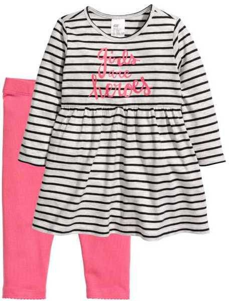 68b4d2497a9db H&M Jersey Dress and Leggings | Products | Pink leggings, Fashion ...