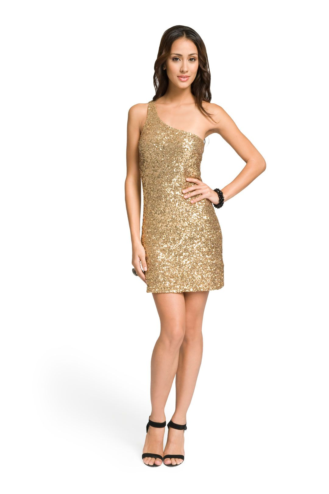 Gold One Shoulder Sequin Dress | Dream wedding, Fall wedding ...