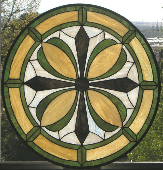 Stained Glass Window Panel--Geometric Flower Circle -- 24