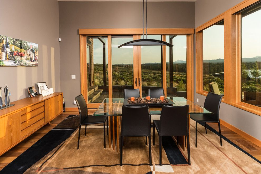 Dark Wood Floors With Gray Walls Dining Room Contemporary Trim
