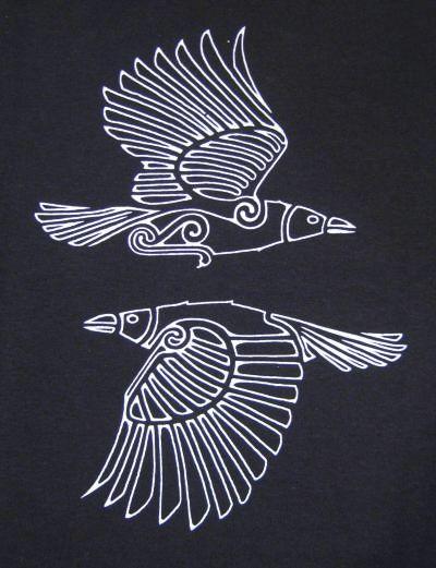"""Hugin und Munin sind in der nordischen Mythologie die beiden Raben Odins, der auch den Beinamen Hrafnáss """"Rabengott"""" trägt. #norsemythology"""