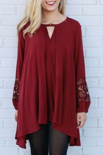 Burgundy Cut-out Front Lace Paneled Asymmetric Dress OASAP.com
