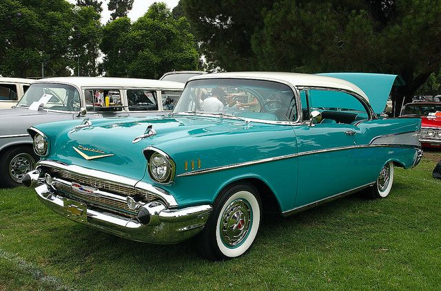 1957 Chevrolet Bel Air Sports Coupe White Over Turquoise Front Left Chevrolet Bel Air 1957 Chevrolet Chevrolet