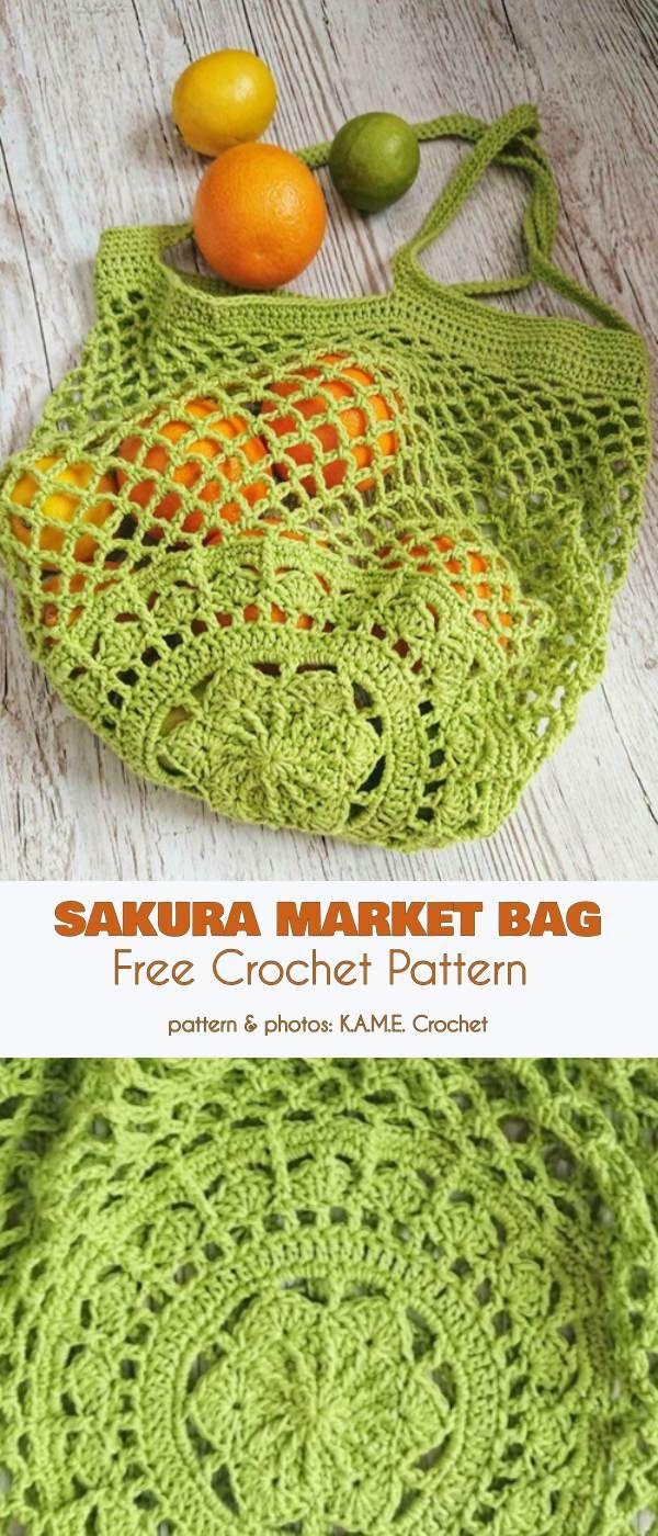 Sakura Market Bag Free Crochet Pattern #crochethooks
