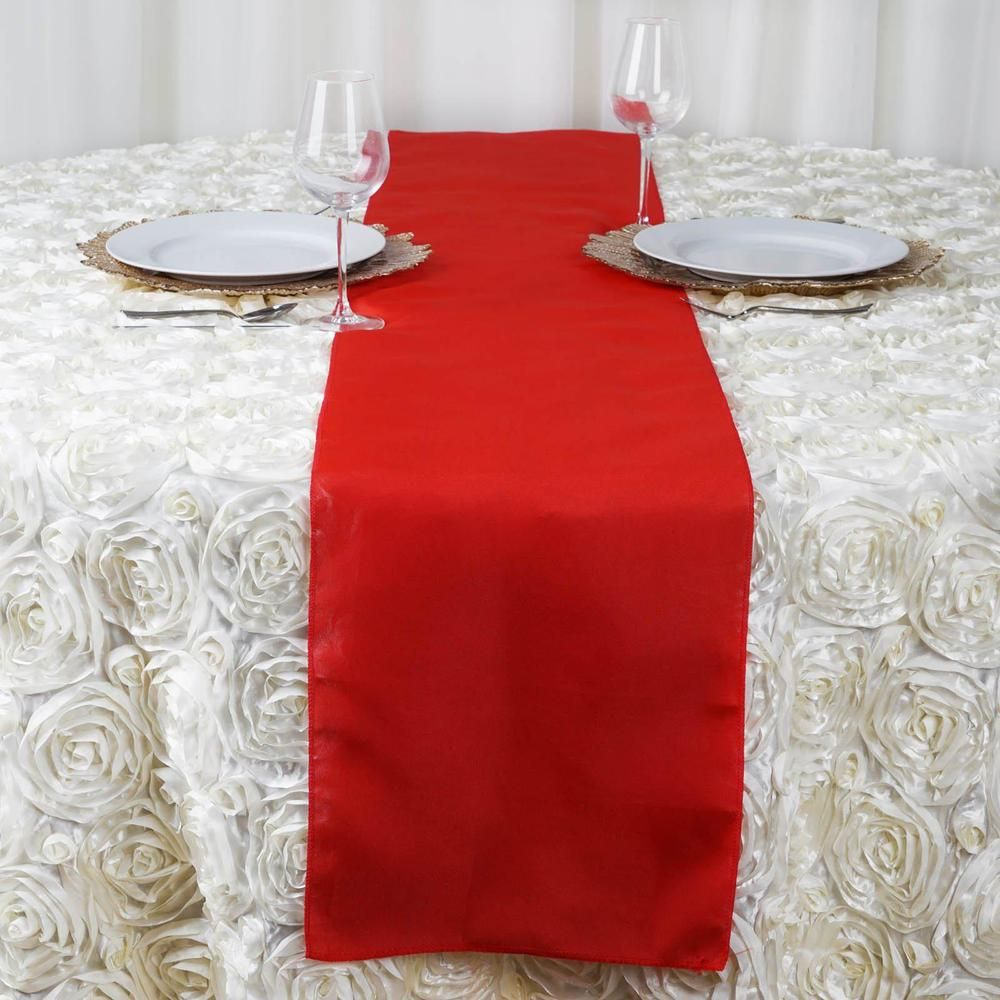 12 X108 Red Polyester Table Runner Table Decorations Flower Table Decorations Table Runners