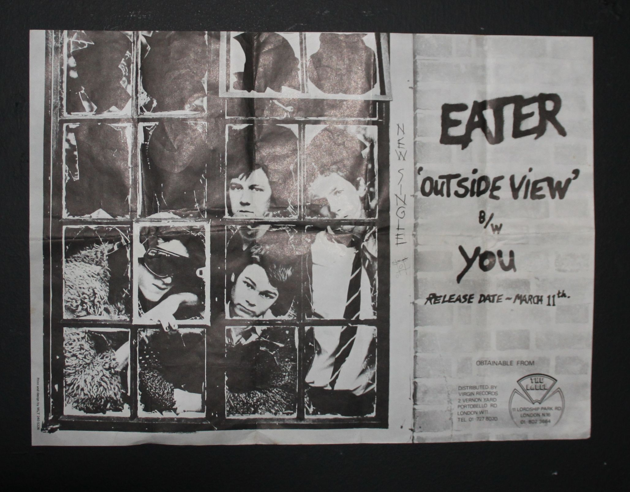 Original 40x37cm the Label Instore Promotional poster For Eater Debut Single Outside View/You from March 1977