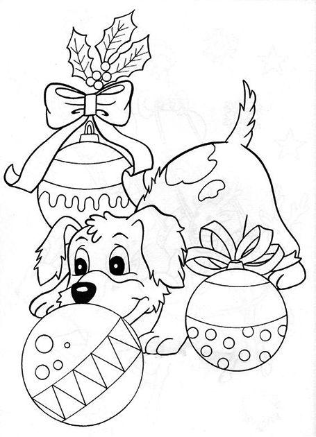 Новогодняя раскраска с елочными игрушками   Раскраски с ...