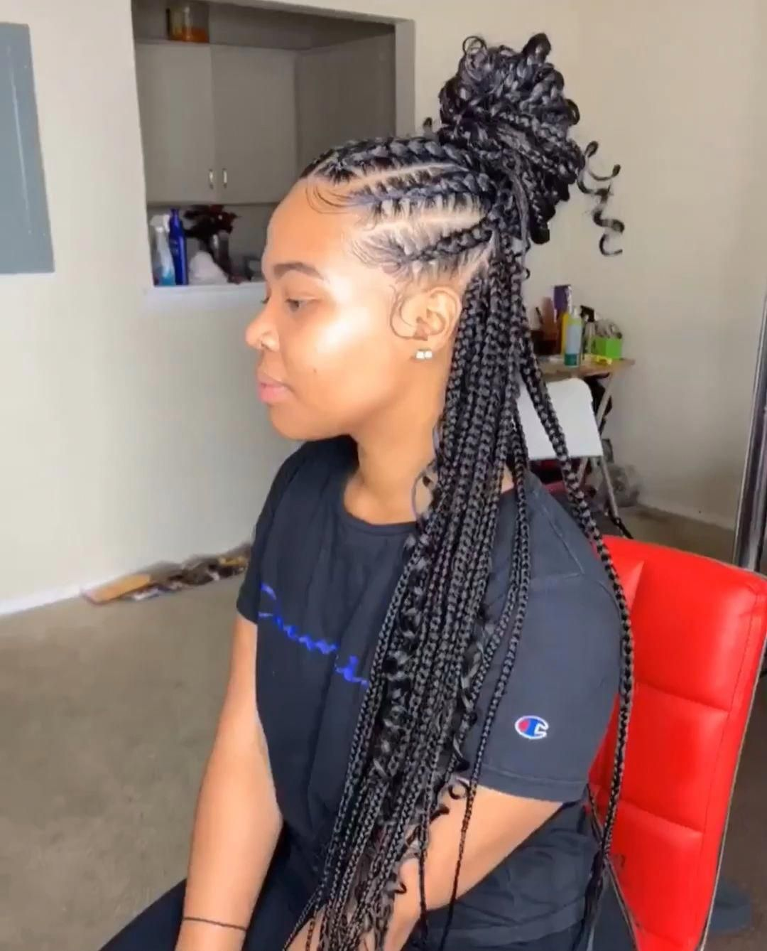 61 Totally Chic And Colorful Box Braids Hairstyles To Wear With Images Girls Hairstyles Braids Braided Ponytail Hairstyles
