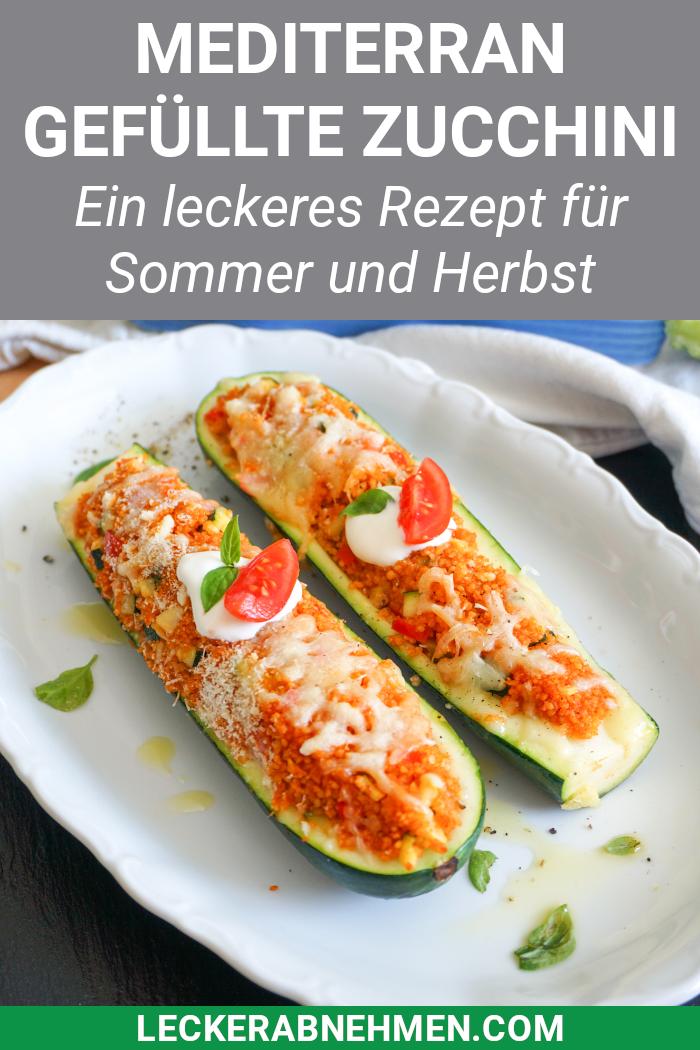 Vegetarisch gefüllte Zucchini mit mediterranem Cous Cous - Fitness Rezept, #Cous #Fitness #Gefüllte...