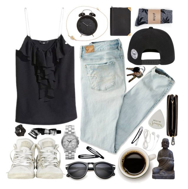 """""""LUCLUC #15 - Beachy brunch"""" by cigerett ❤ liked on Polyvore featuring HUF, American Eagle Outfitters, Converse, Marc by Marc Jacobs, Aesop, Nomadic, H&M, Alexander Wang and lucluc"""