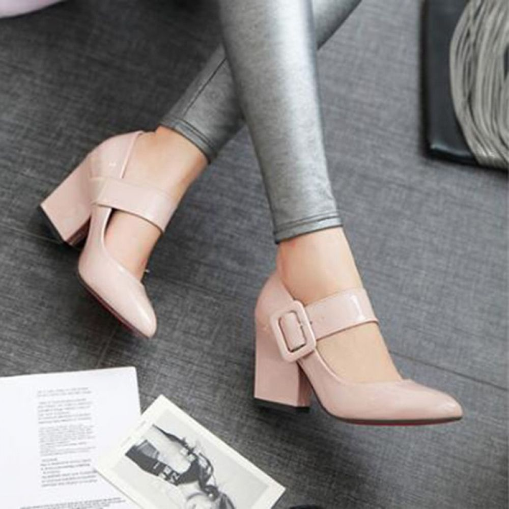 High Heels Shoes Women Mary Janes Shoes Thick High Heel Pumps Autumn Fall Footwear Red Black White Apricot Big Size 34-43