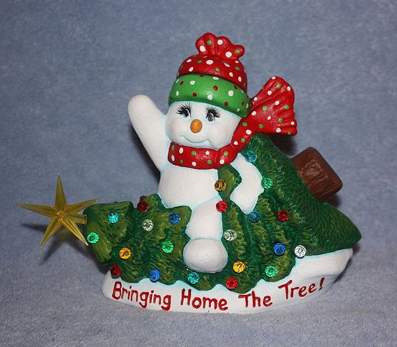 Handpainted Ceramic Snowman Riding A Christmas Tree And Etsy Hand Painted Ceramics Clay Crafts Hand Painted