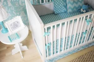 Zig Zag Crib Bedding in Aqua. Product in photo is from www.wellappointedhouse.com