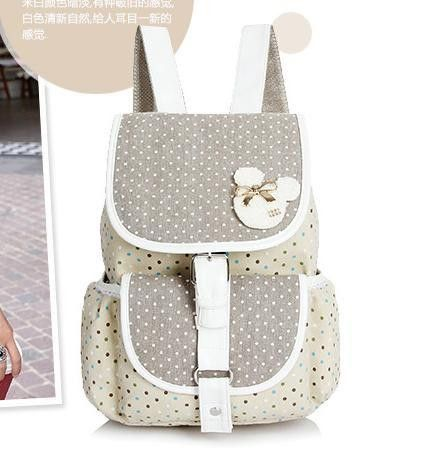 8879d9c69888 Girl s Fresh Cute Preppy-Style High-Quality Large-Capacity Polka Dot Bunny Print  Canvas Backpack 3 Colors