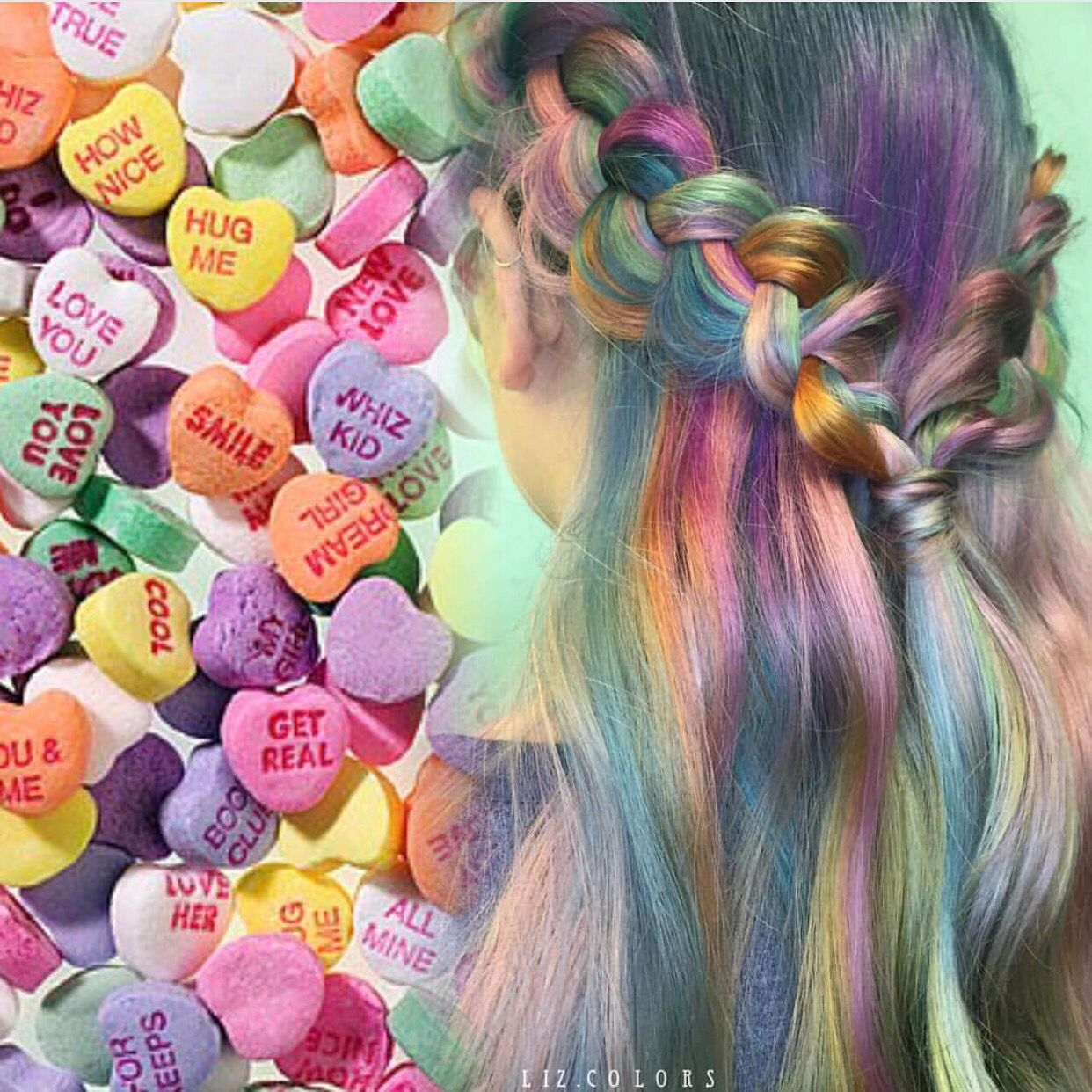 Inspired by candy hearts beautiful rainbow hair color design and