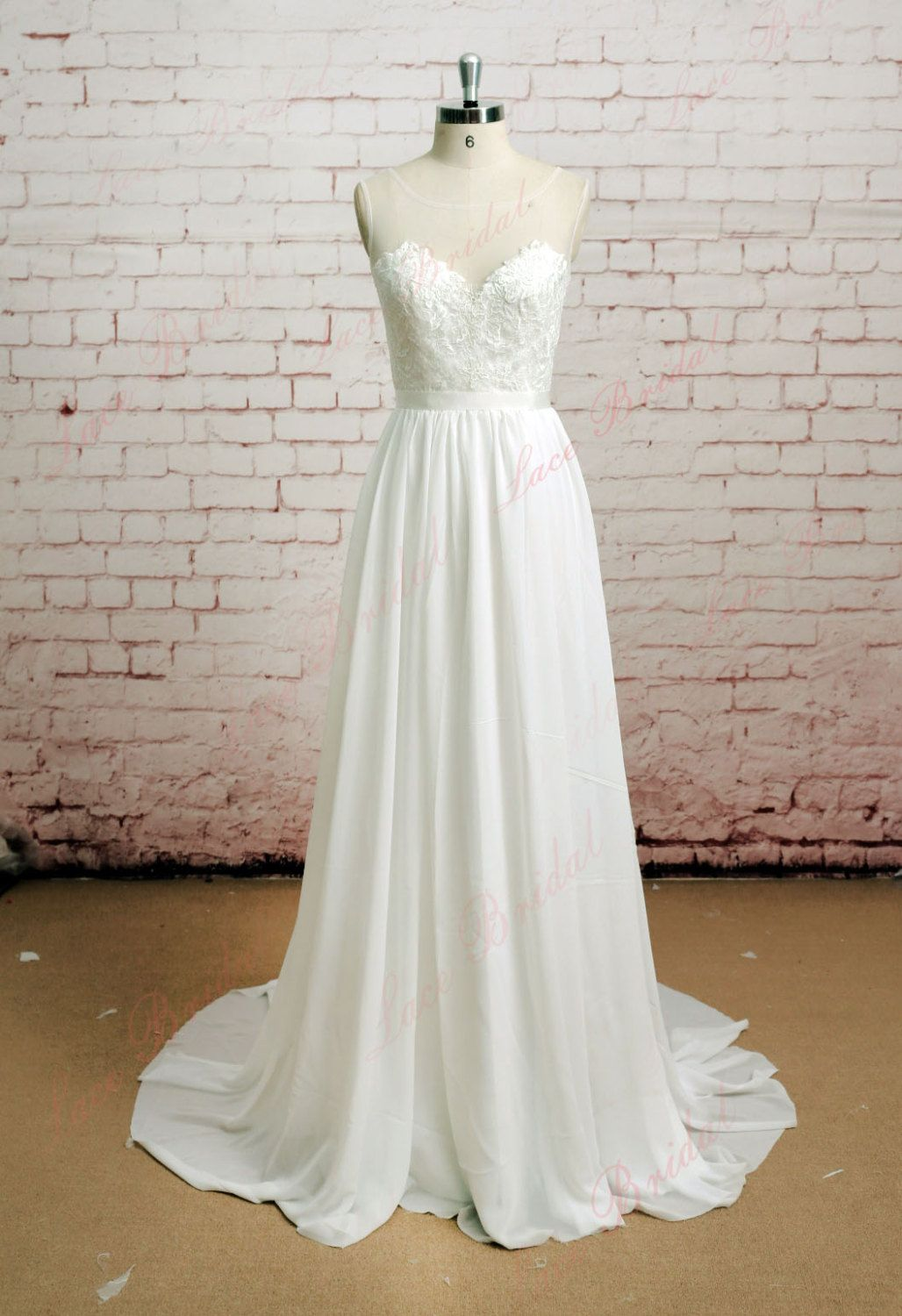 Sheer Back Wedding Dress Illusion Neckline Wedding Dress Lace ...