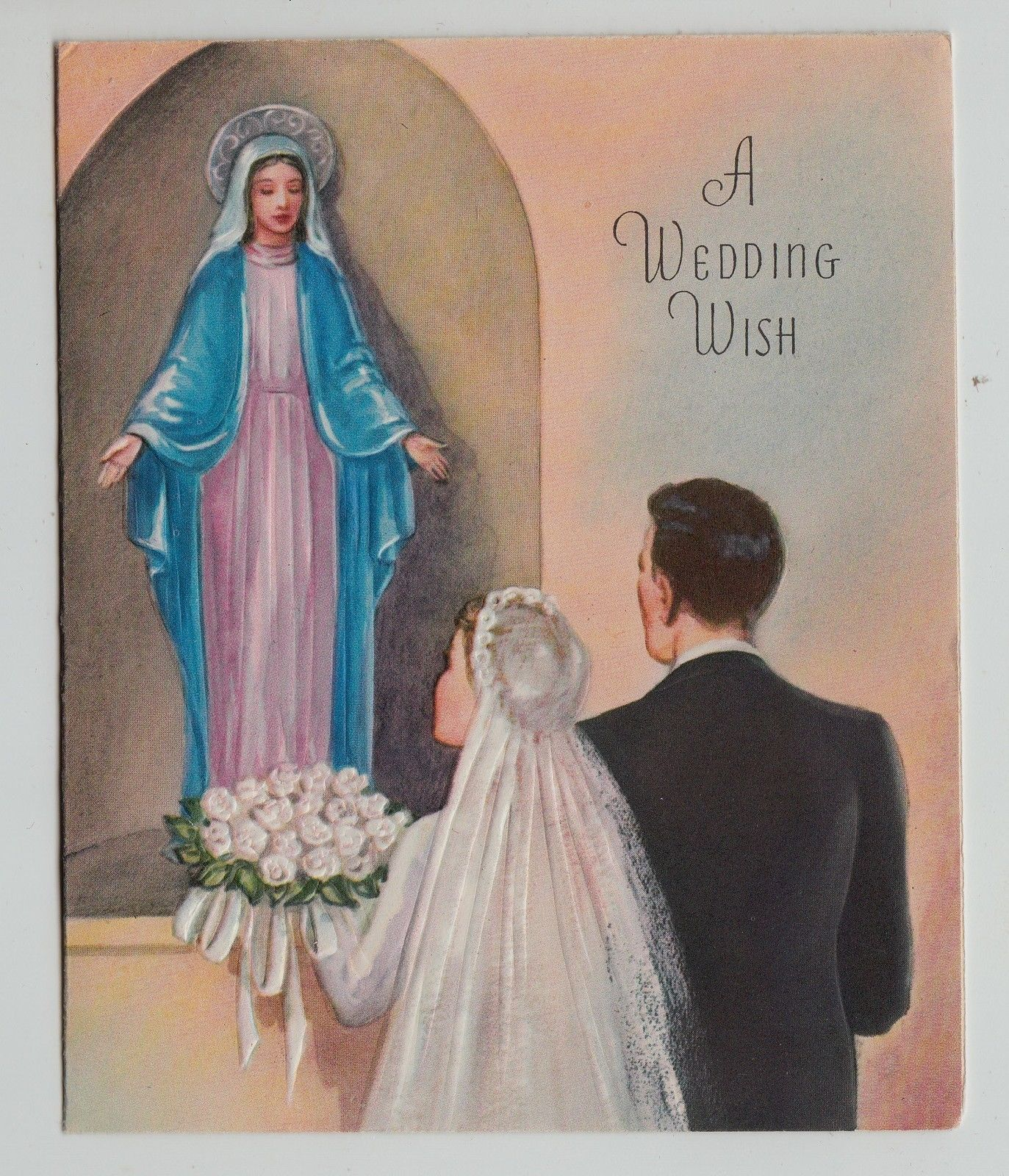 wedding anniversary card pictures%0A Vintage Bride Groom with Mother Mary Wedding Greeting Card   eBay