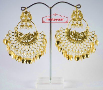 made gold plated morni design traditional punjabi earrings
