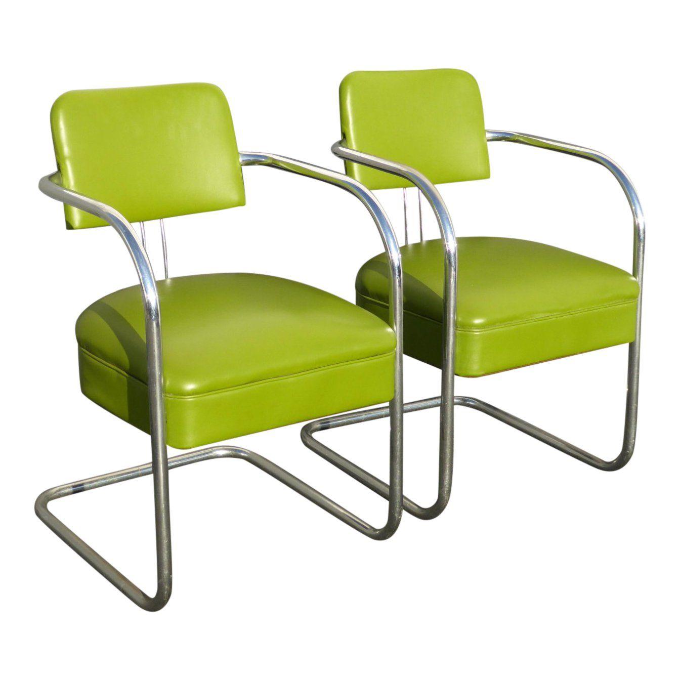 Bent Chrome Mid Century Modern Accent Chair: 1950s Vintage Mid-Century Modern Lime Green Chrome Accent