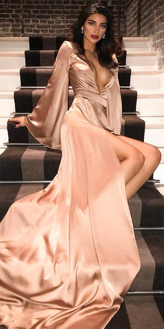 f6305fdc31a Sexy Deep V-Neck Long Sleeve A-Line Slit Prom Dresses