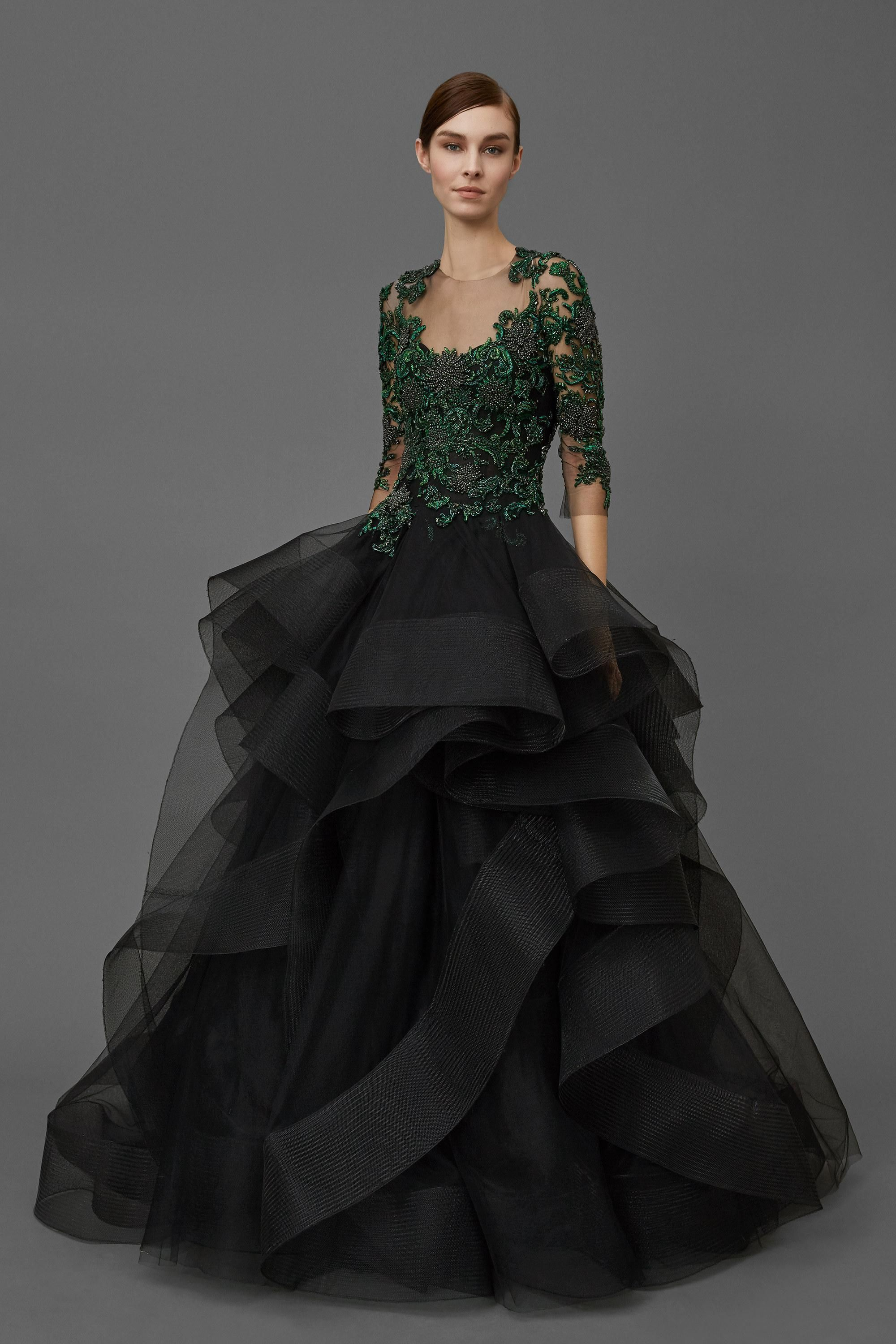 new arrival ball gown evening dresses long sleeves black green