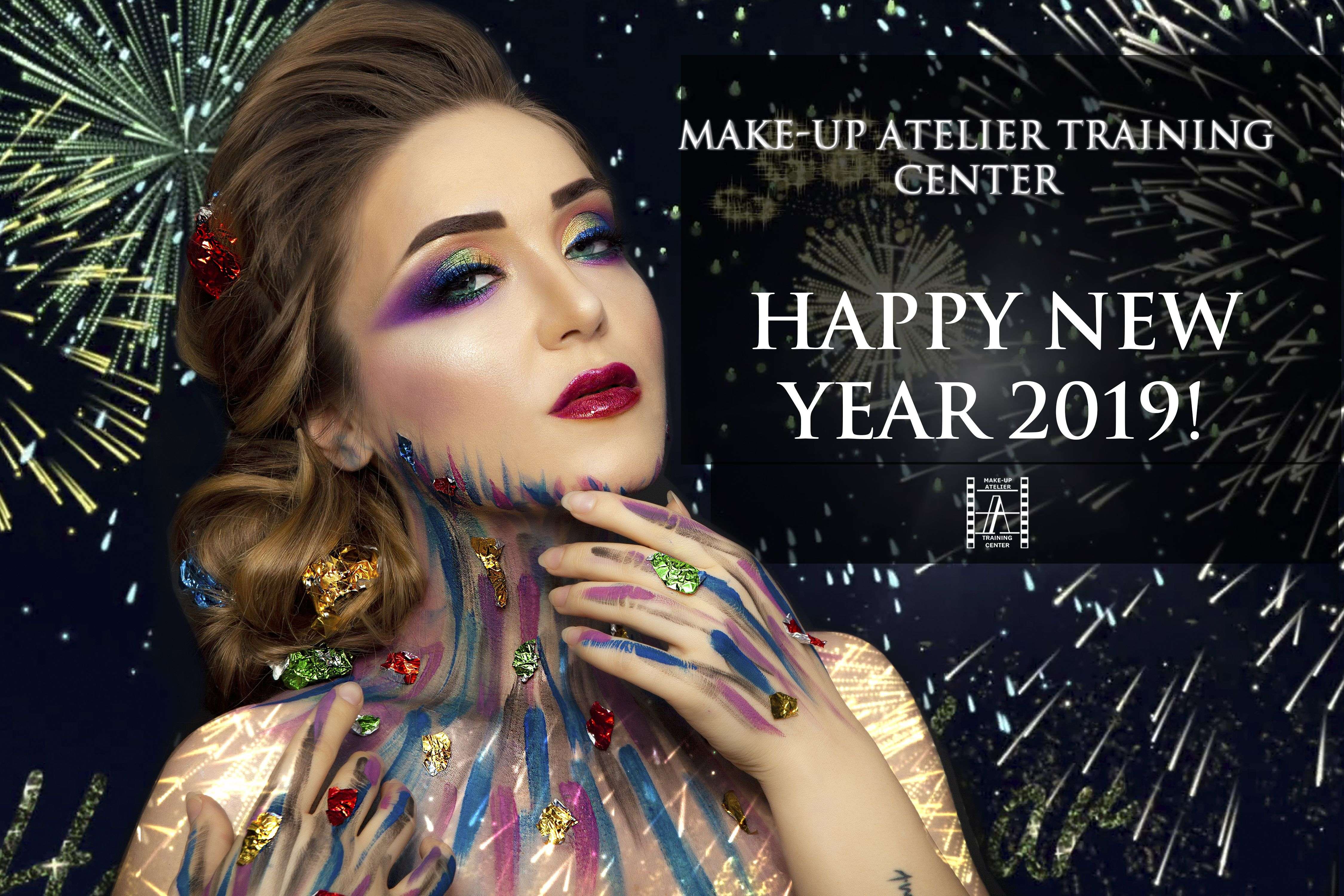 Make Up Atelier Training Center Wishes You A Happy New Year 2019 Creative Work By Our Team Make Up Artist Zinaida Makeup Course Beauty Academy School Makeup
